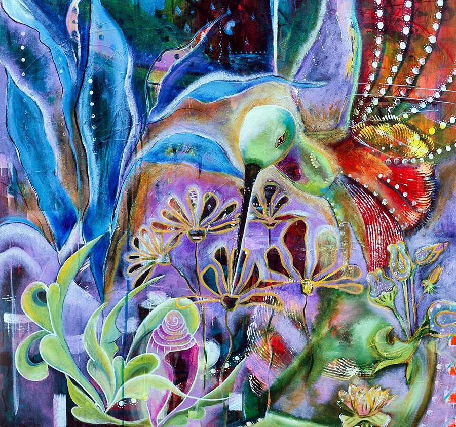 Gathering Nectar 36x36 Acrylic on Canvas