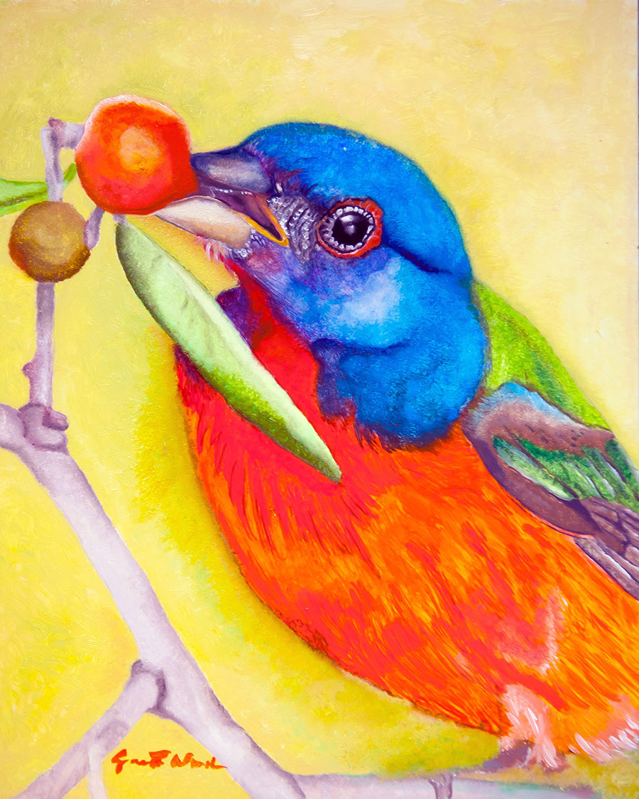 Painted Bunting 8x10 Oil on Masonite Panel