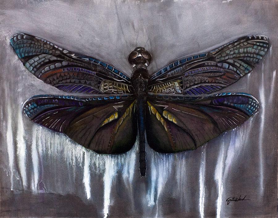 Dragonfly 18x24 Oil, Patel, Acrylic on Masonite Panel (Original SOLD)