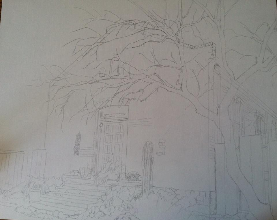initial sketch on panel.