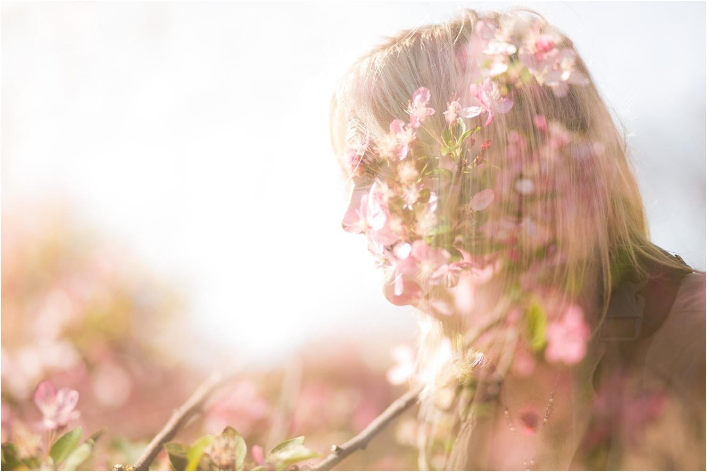 NYC Cherry Blossom Double Exposure