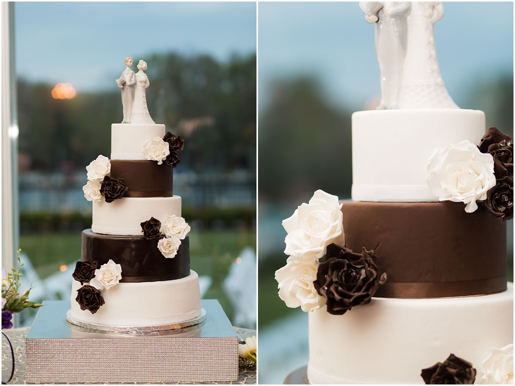 Clarks Landing Wedding photos brown and white cake