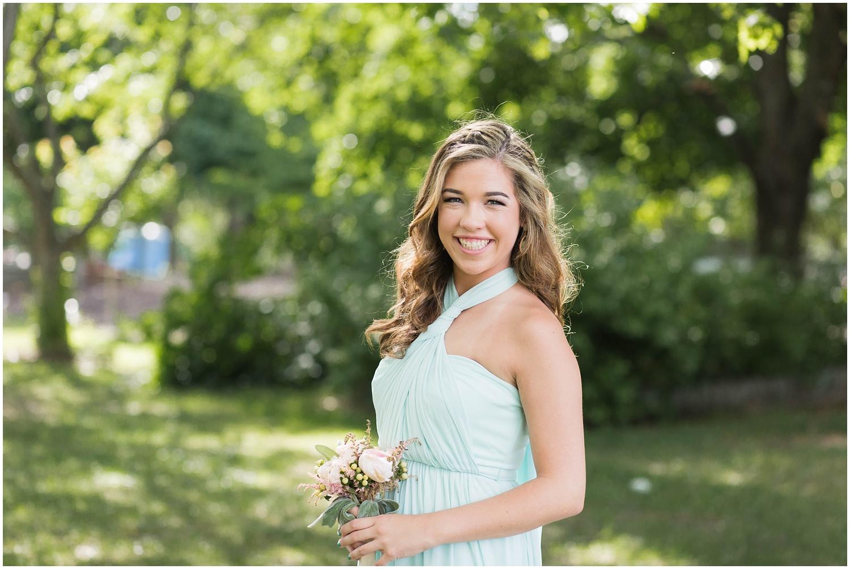 Morris County Wedding | NJ Wedding Photography | Bridesmaid in mint dress