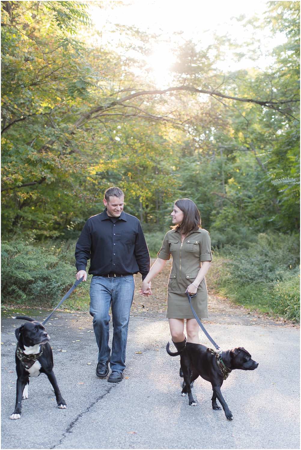 Fall engagement session in new jersey with dogs