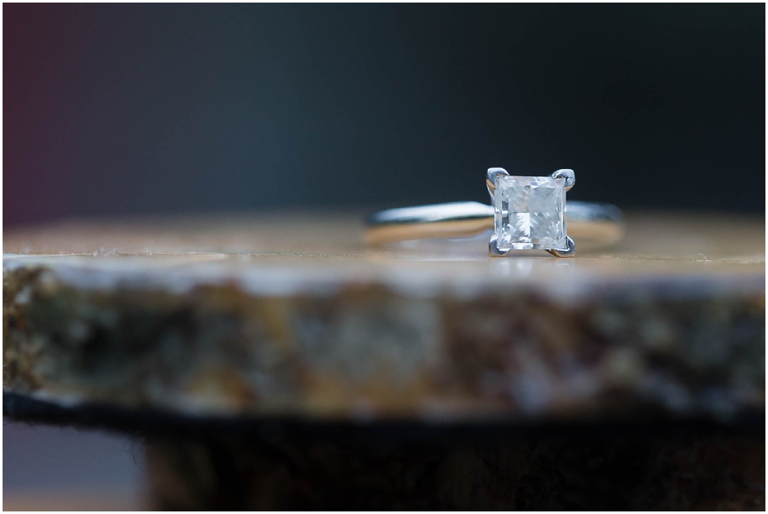 engagement ring on wood