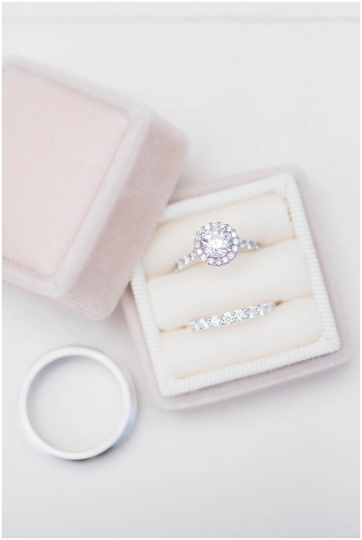 Diamond ring in blush velvet ring box