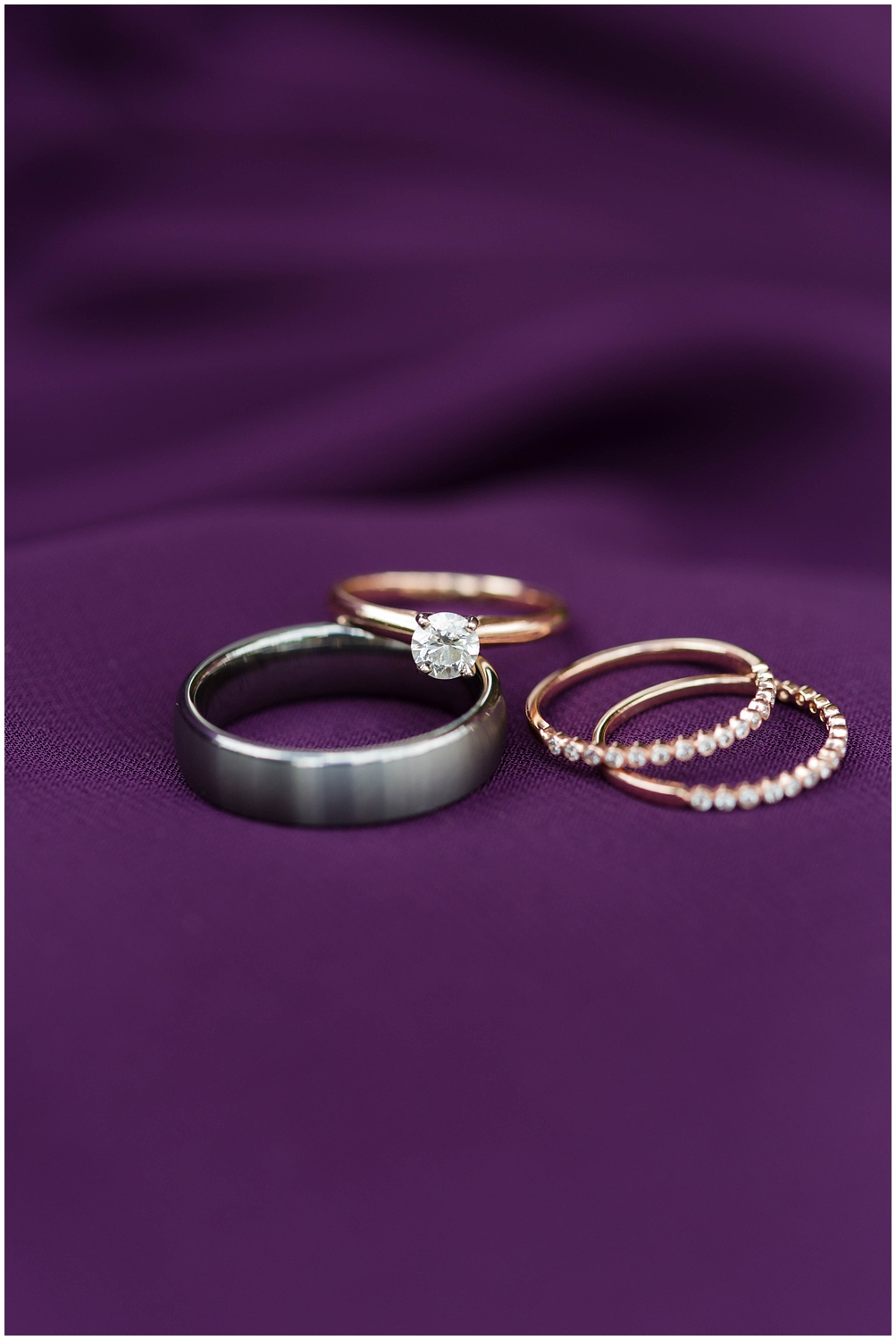 rose gold wedding rings with double band