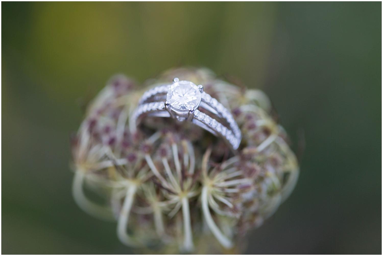 engagement ring on flower