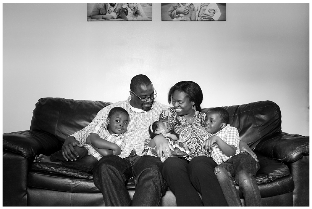 family of five portrait black and white