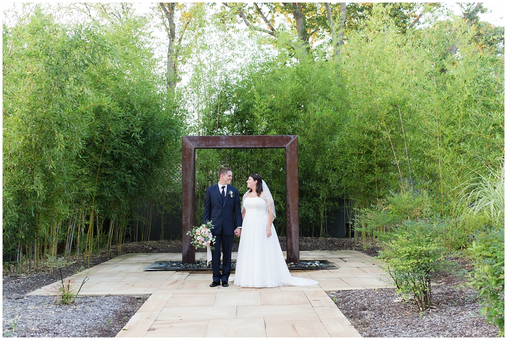 wedding photo of bride and groom at aluetto caterers