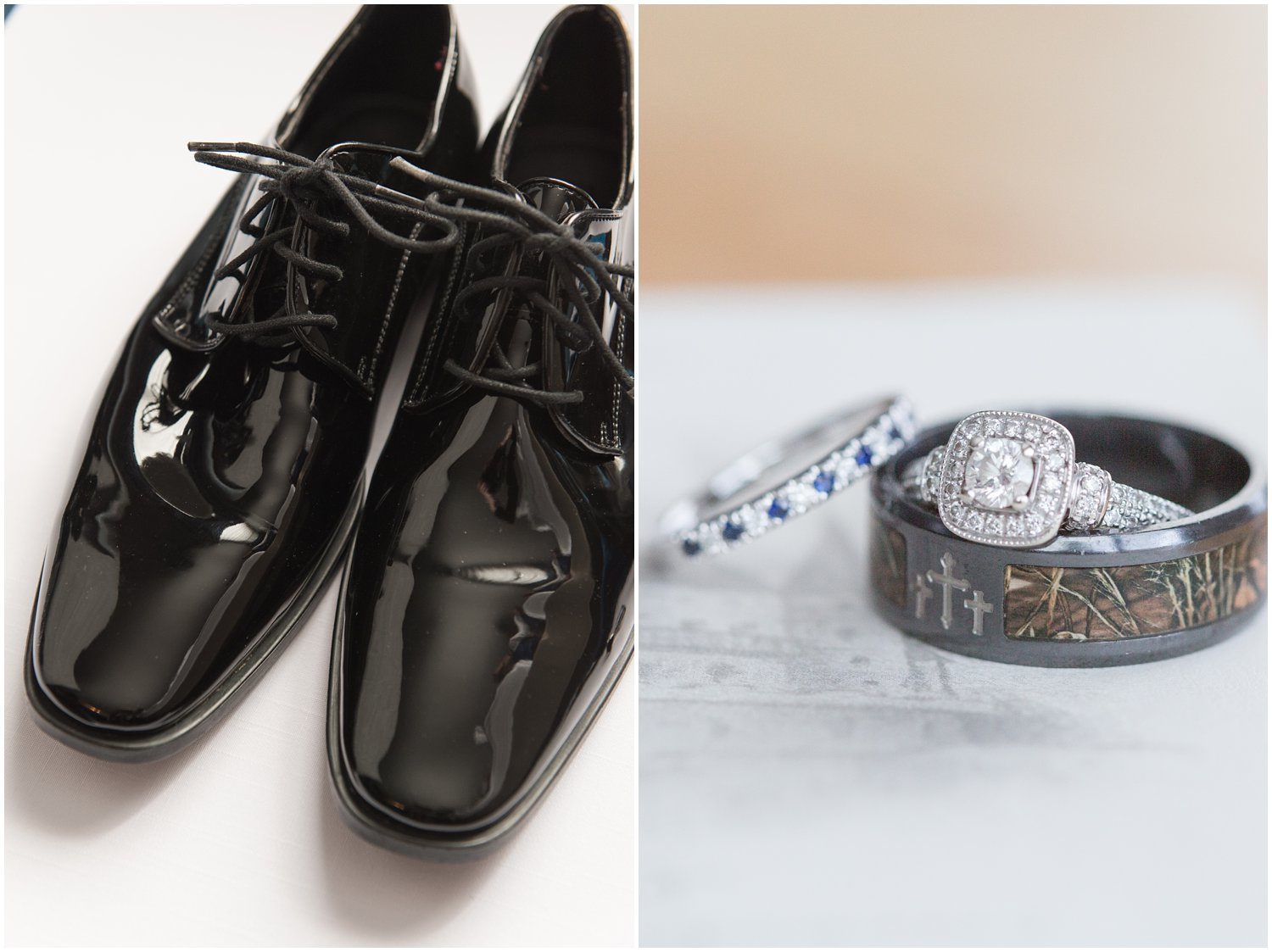 groom shoes and bride and groom wedding rings