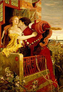 An 1870 oil painting by    Ford Madox Brown    depicting    Romeo and Juliet 's famous balcony scene [From Wikipedia]