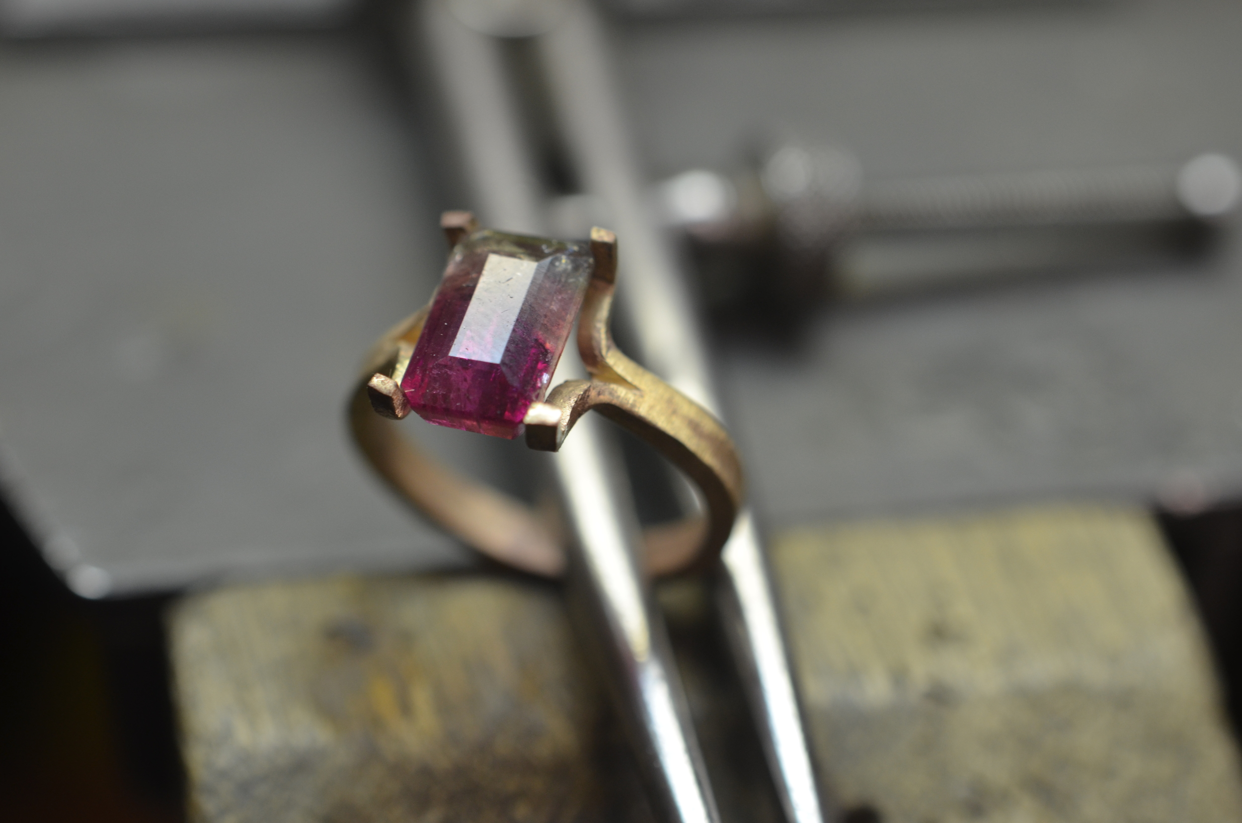 Preliminary fitting of the Tourmaline after fabricating the basic setting design.