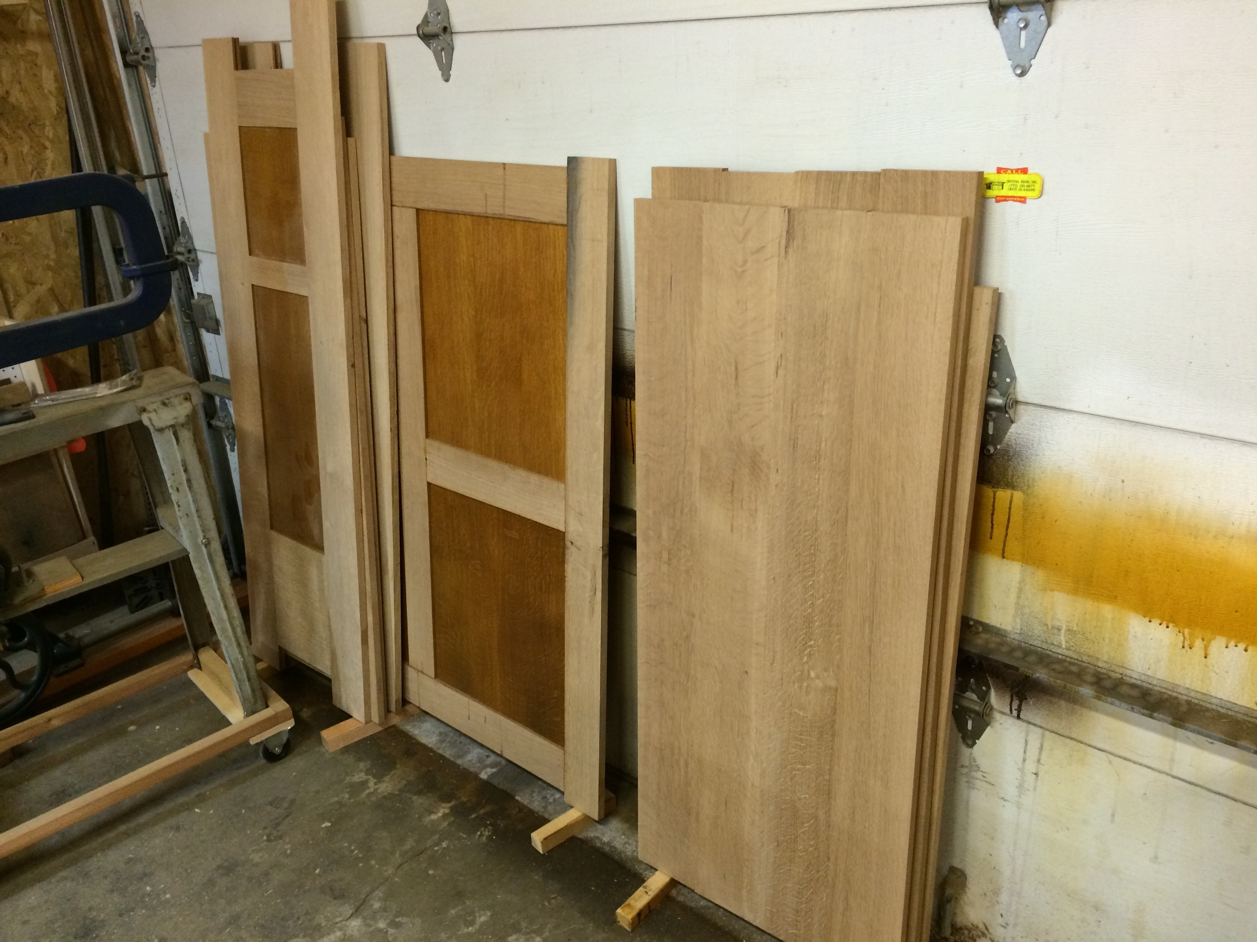 wardrobe pieces (doors, sides, back, top, bottom, and inner divider)taking up shop space -I ended up stumbling over them and moving them back and forth,working around them,for the next several months.