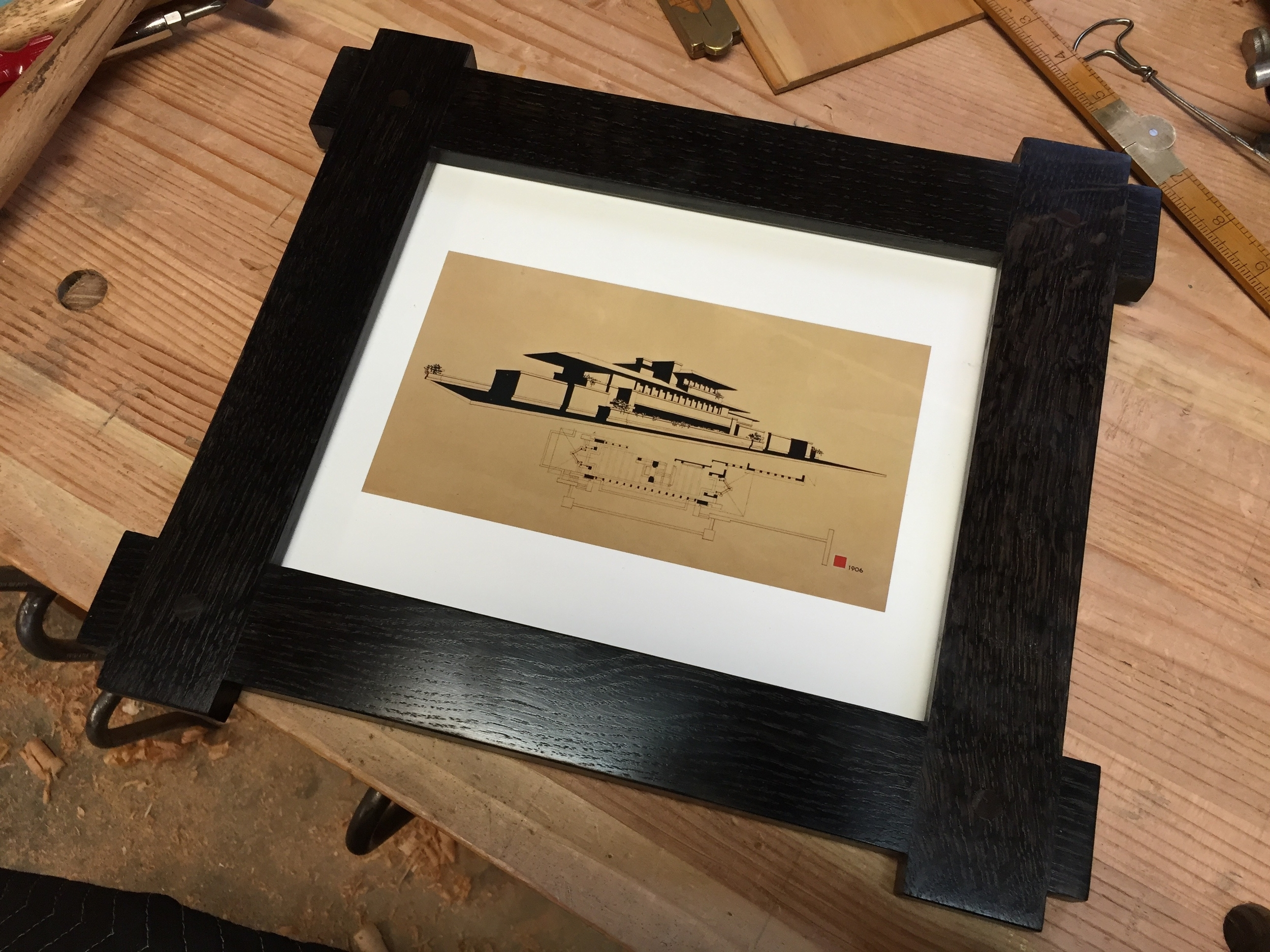 Robie house print in ebonized white oak frame