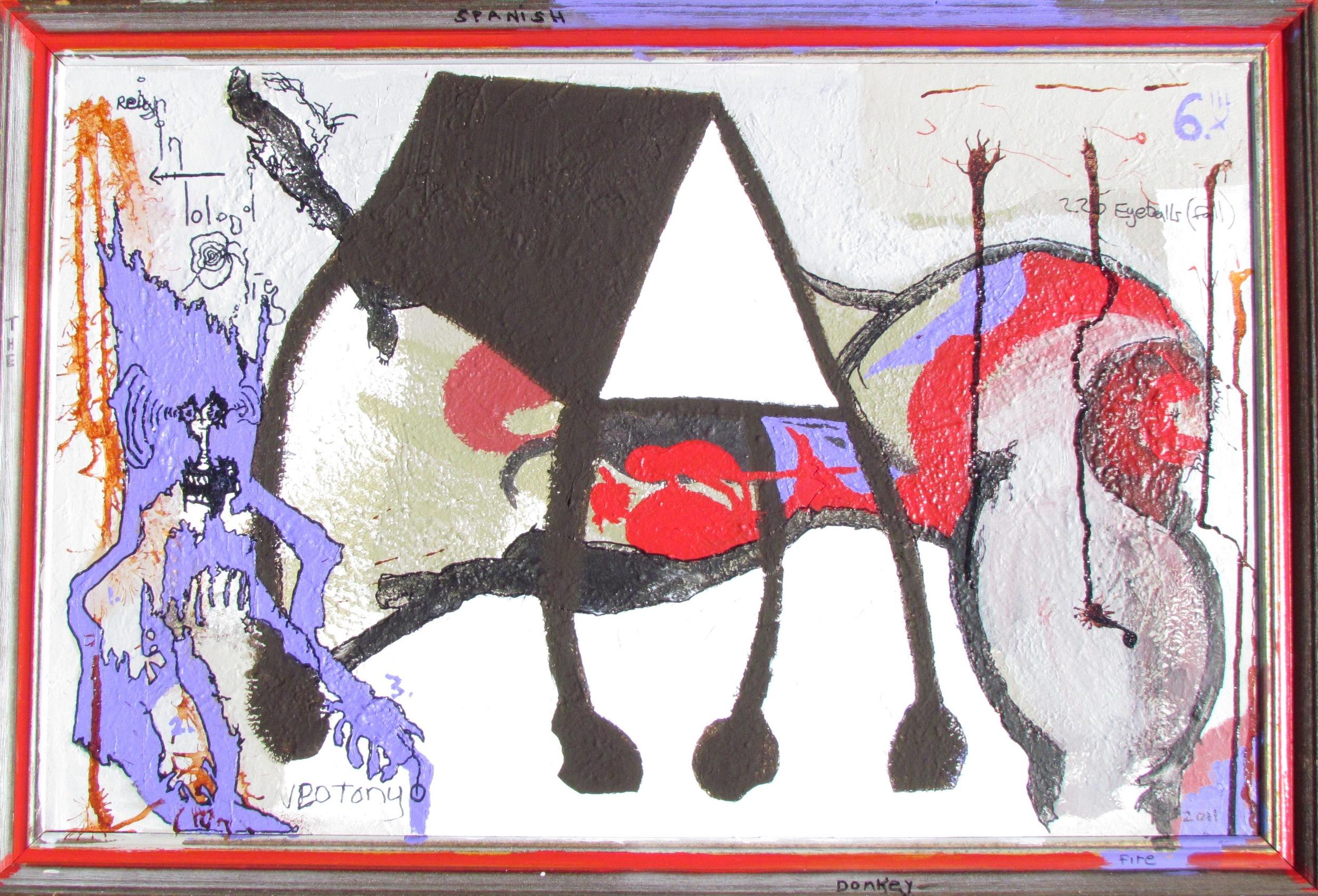"""""""The Spanish Donkey"""" (2011, acryllic, oil & ink on canvas)"""