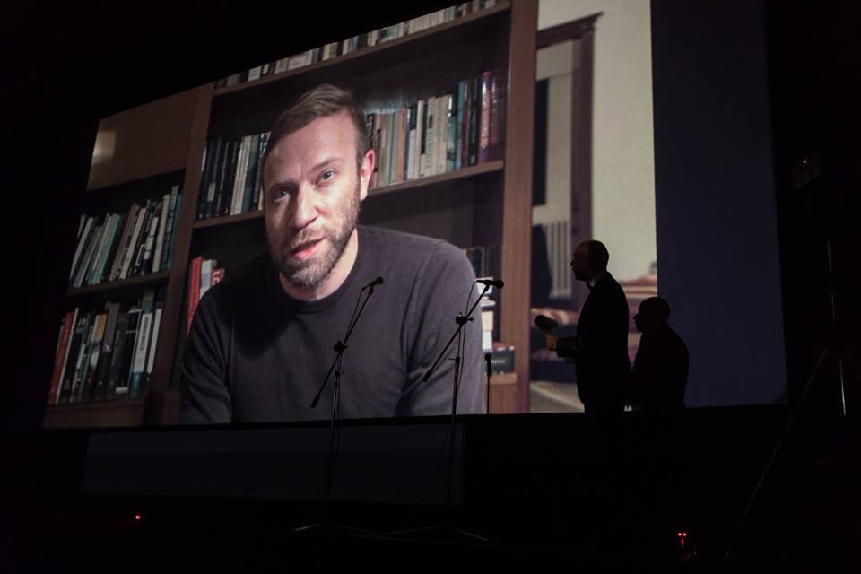 Vatche accepting the Best Fiction Film award via video message from Beirut.