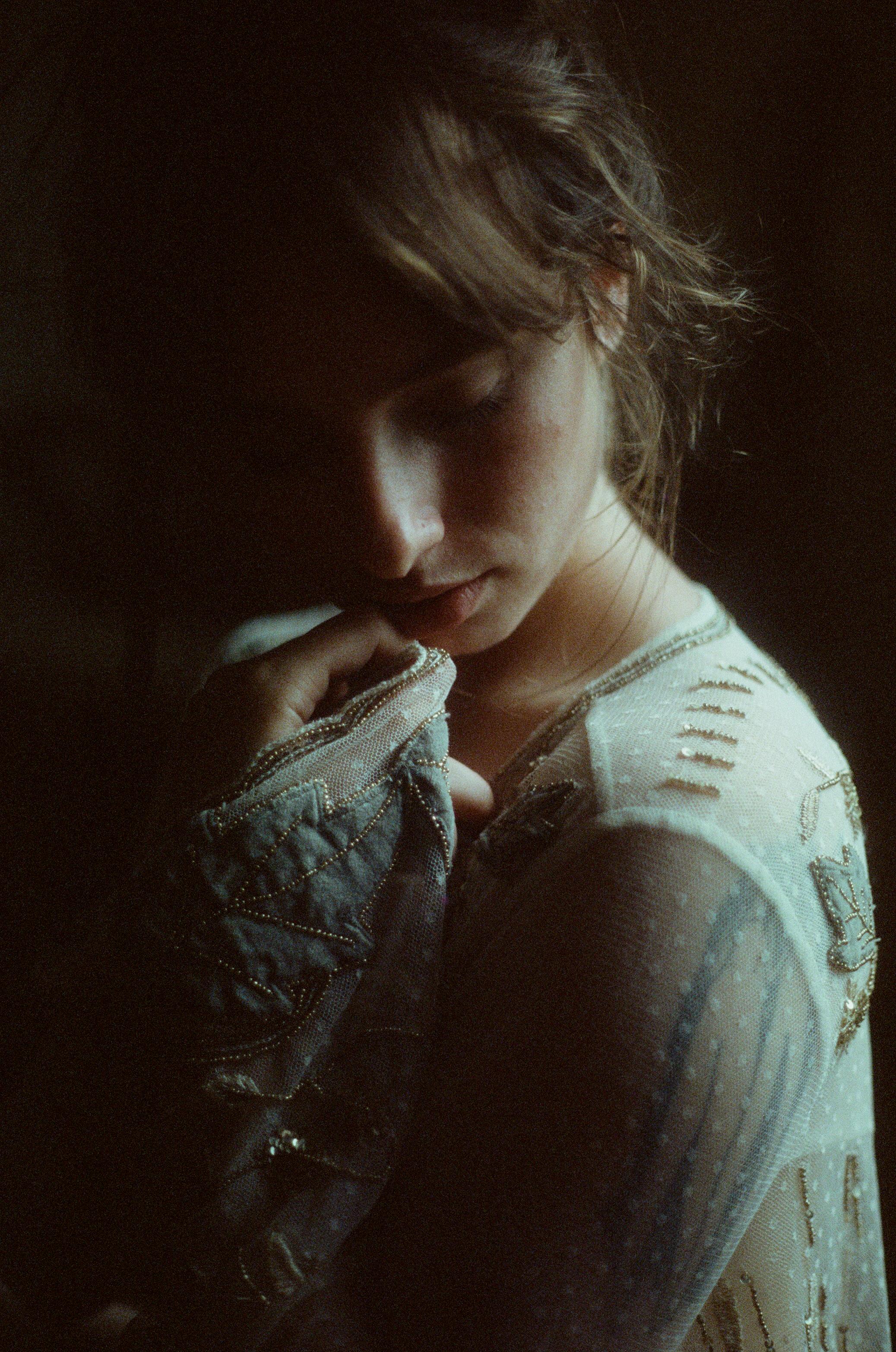 35mm film portrait. lingerie editorial. moody boudoir. canon ae-1. cinestill 800. moody portrait. emotional portrait. ohio portrait photographer. sarah rose photography. i am sarah rose.