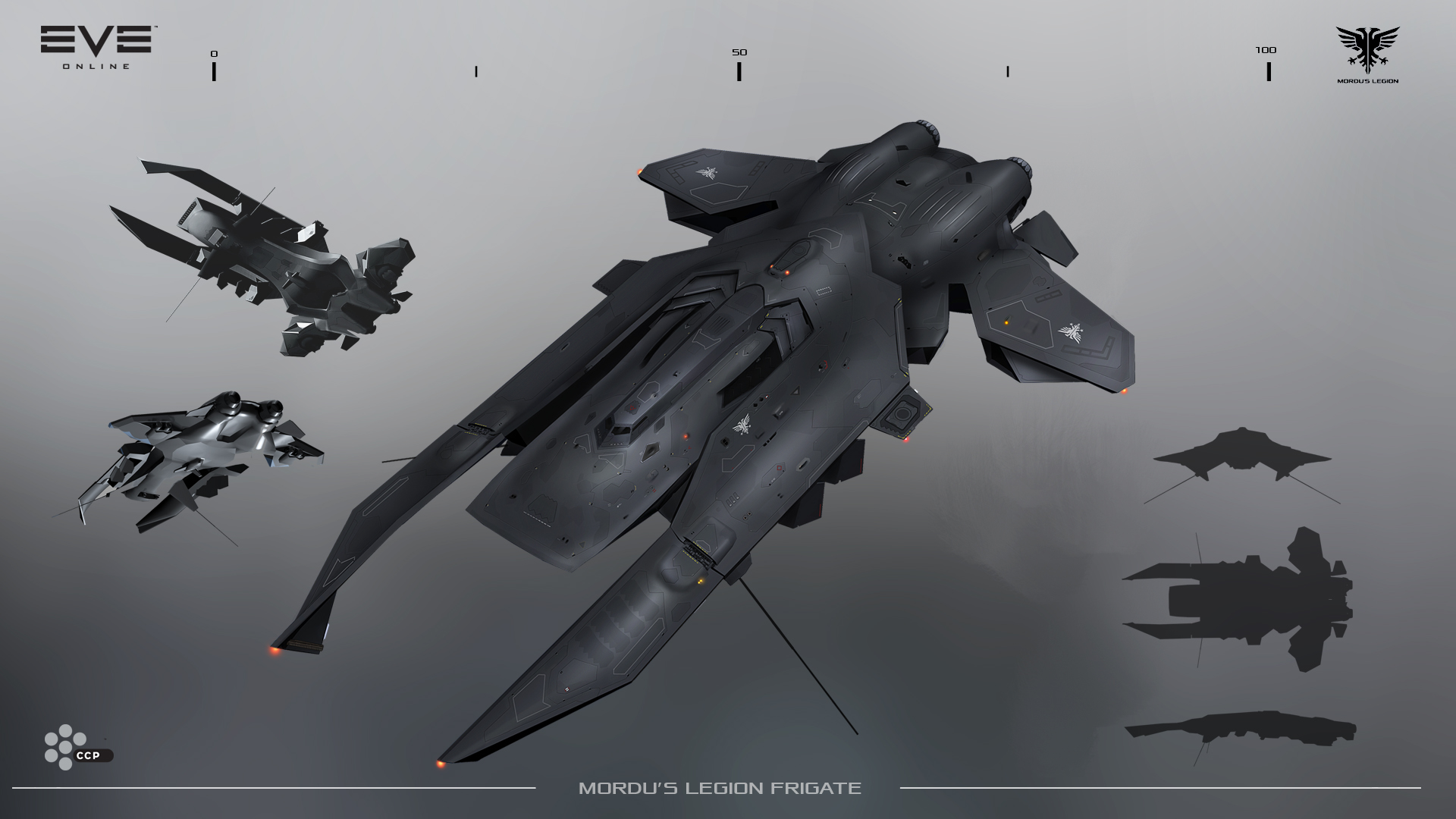 The new Mordu's Legion frigate, the Garmur - flat, black, and just plain cool looking.