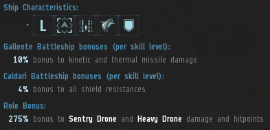 The Rattlesnake provides a unique mix of bonuses which emphasize drones, missiles and shield tank, making it ideal for Level 4 mission running and other PvE activities.