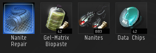 I gather all the required materials into a station, ready to be turned into Nanite Repair Paste.