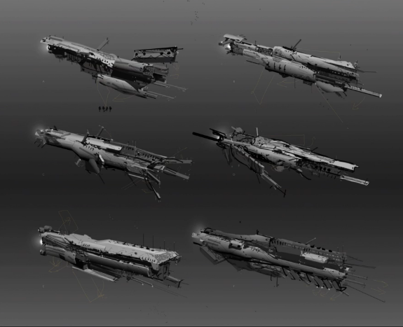 Early conceptual designs for an Amarr Tech III Tactical Destroyer, showing possible ship configurations for different modes: defensive, speed and sniper.