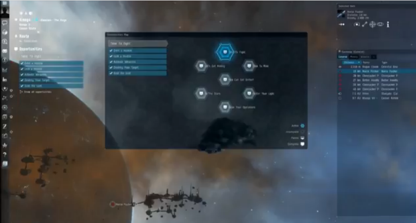 The new Opportunities system prods players to try different aspects of EVE Online gameplay, without forcing them through a linear, inflexible and text-heavy tutorial.
