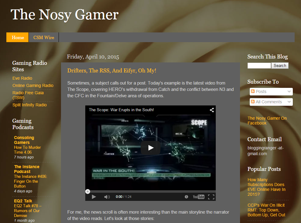 One of my favorite EVE Online blogs, The Nosy Gamer, expertly produced by NoizyGamer.