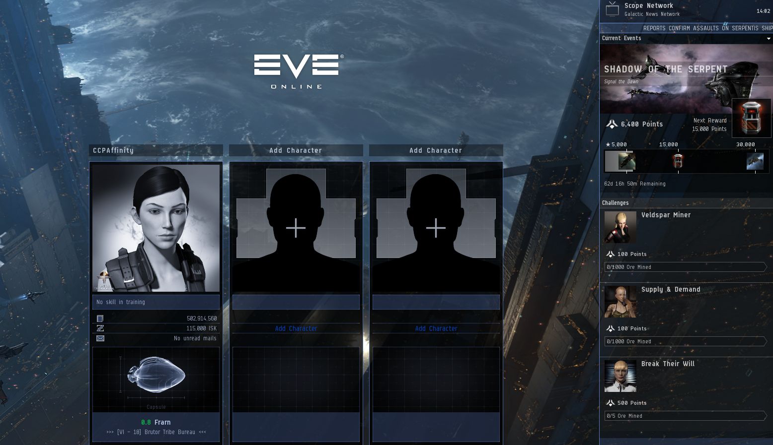 I like how the Shadow of the Serpent PvE options are served up, right on the character log-in screen. This has potential...