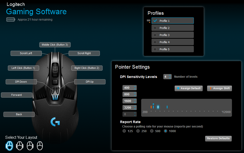 The Logitech gaming software makes it easy to configure the G900.
