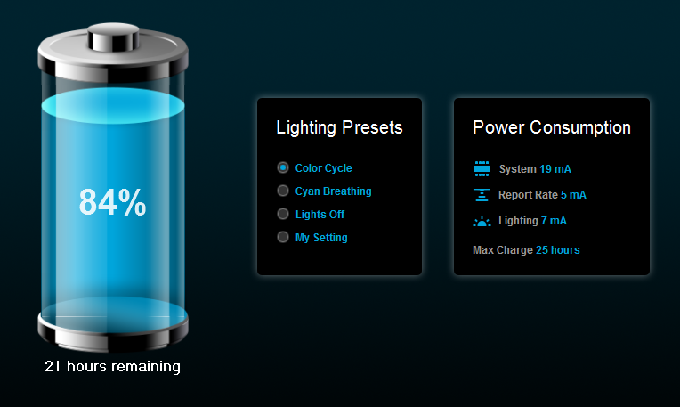 The gaming application tells you how much battery life you have left.