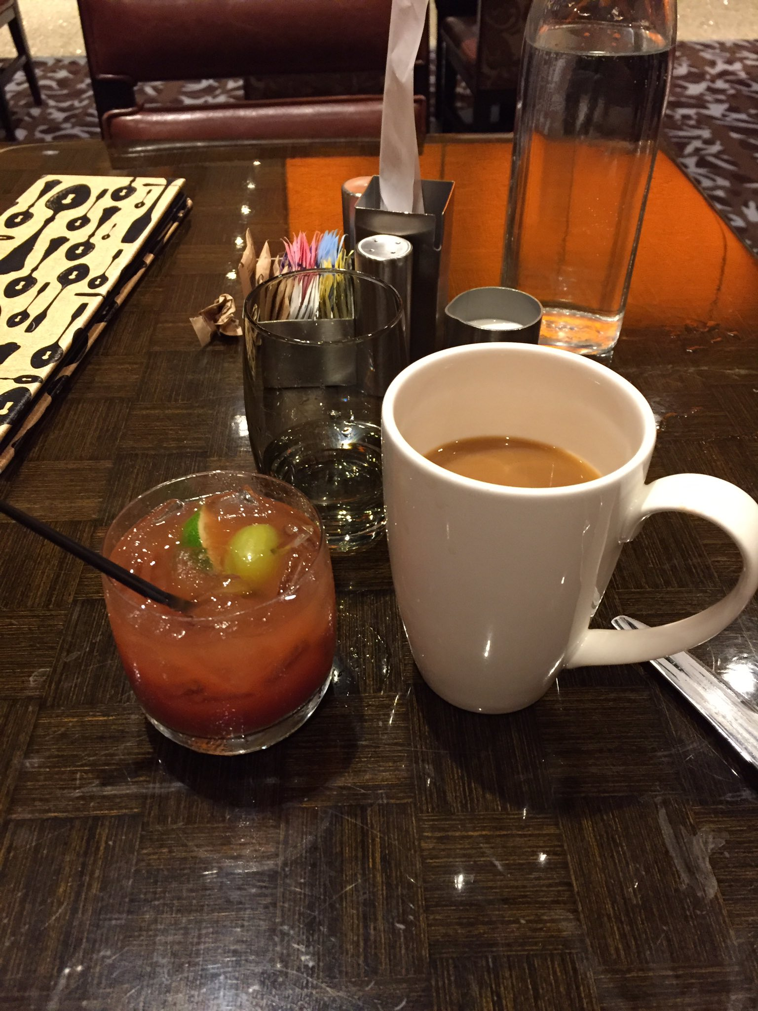 The EVE Vegas breakfast of champions: water, coffee and Bloody Marys.