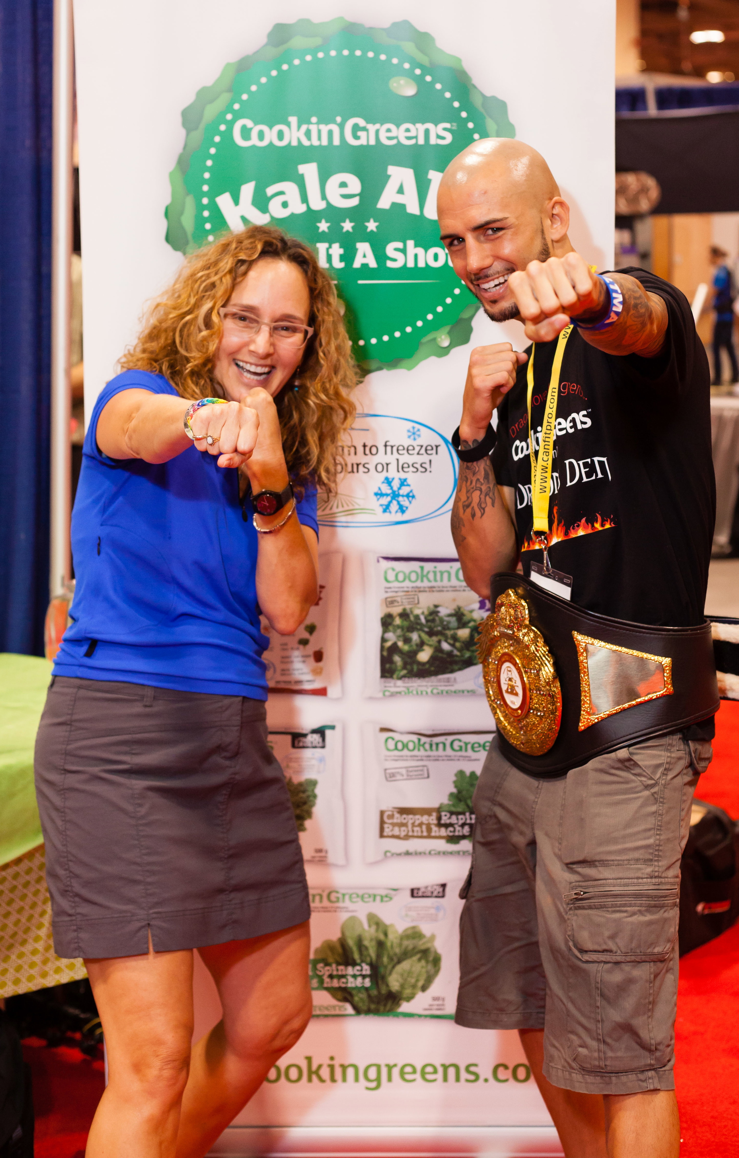Margot pictured above with Super Featherweight Champion Logan McGuinness at this years CanFitPro Conference Trade Show.