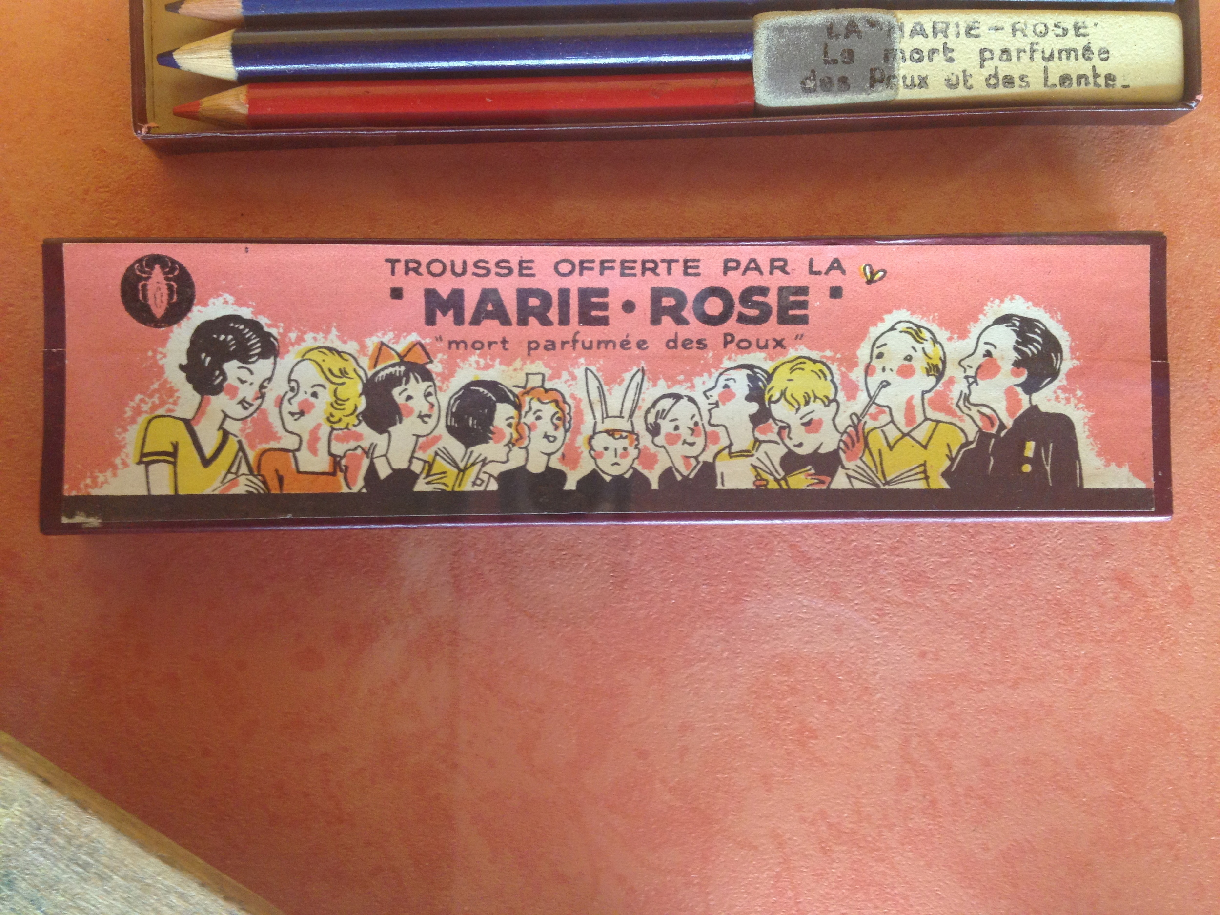 this pencil box compliments of Marie Rose, the perfumed death of head lice.  :-0