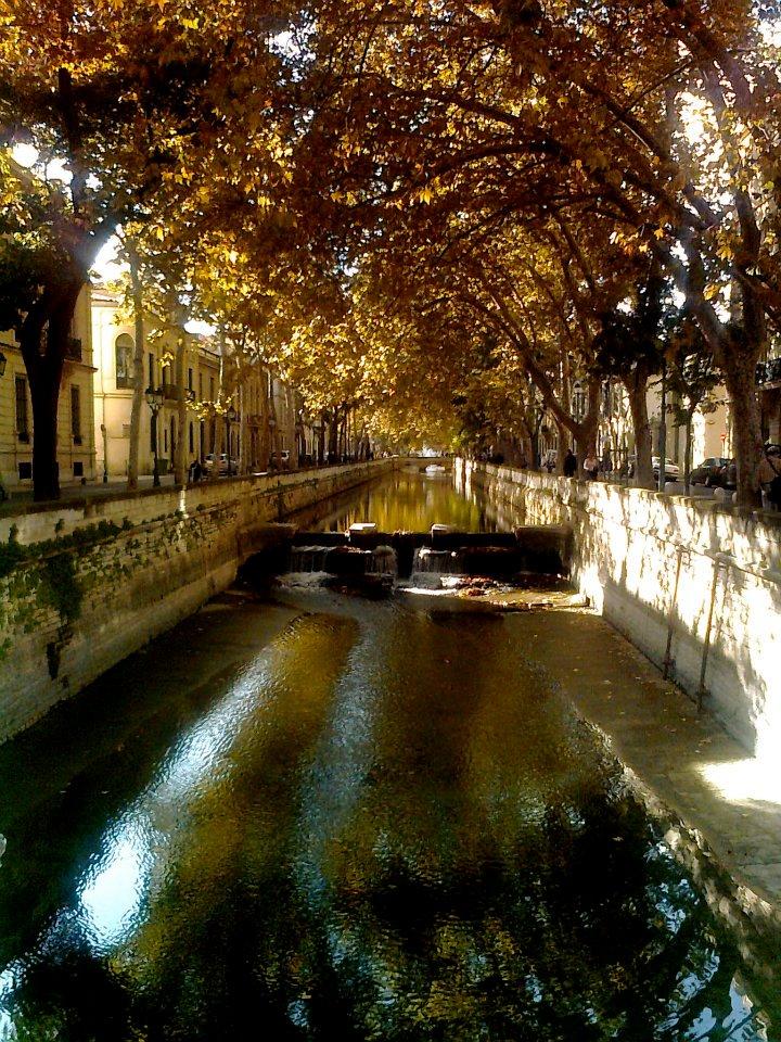 Nîmes. Canal du quai de la Fontaine.