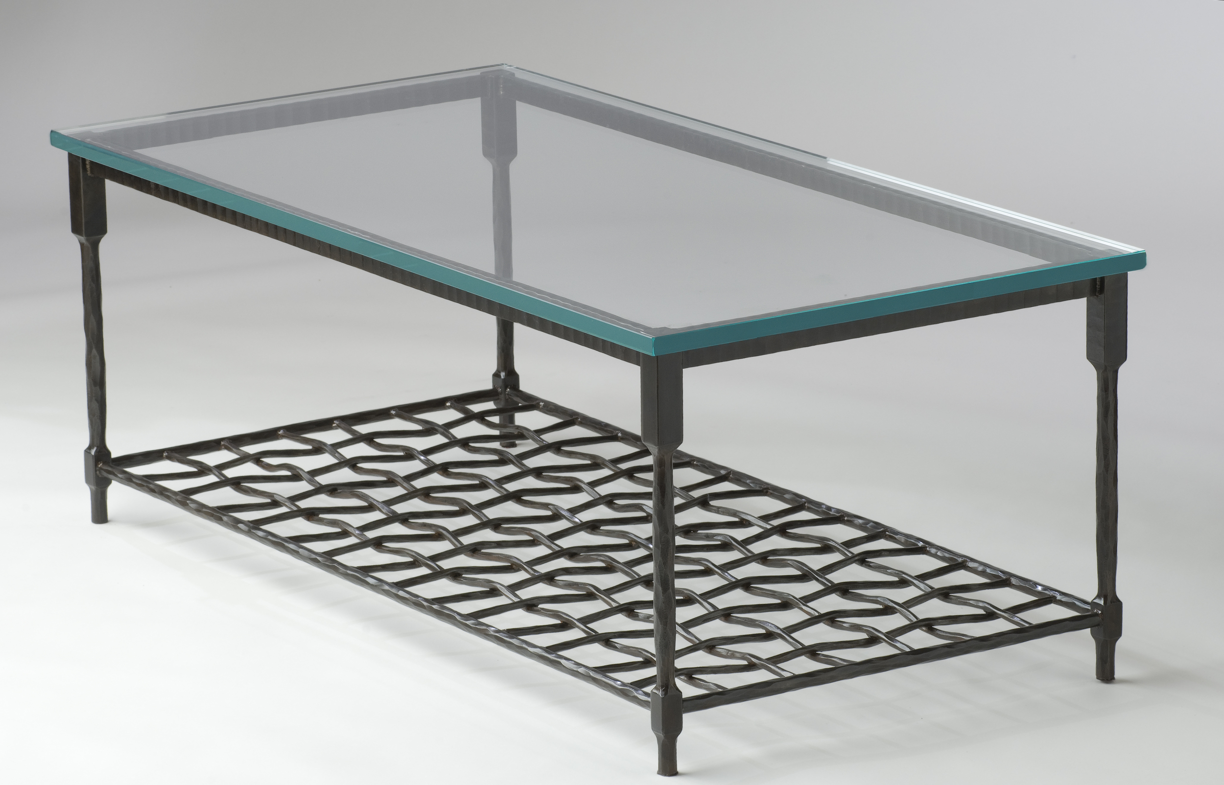 Forged Leg Coffee Table With Woven Shelf