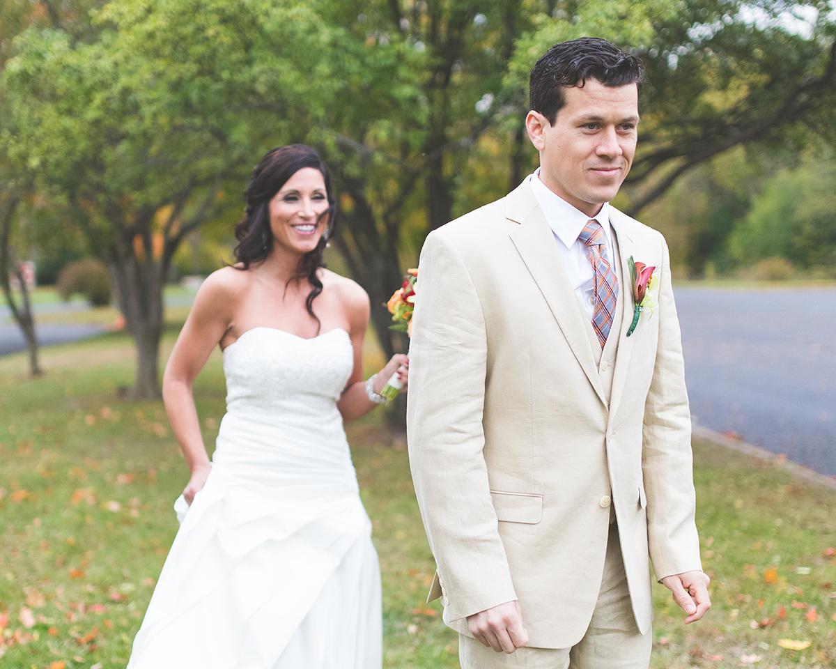 Groom Awaits Bride on Wedding Day with Photographers from Northwest Ohio