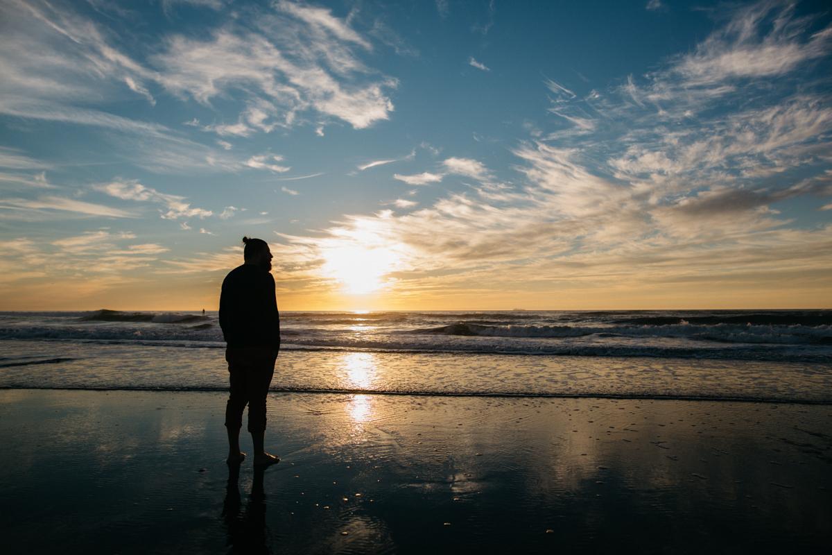 Silhouette at Sunset on Honeymoon
