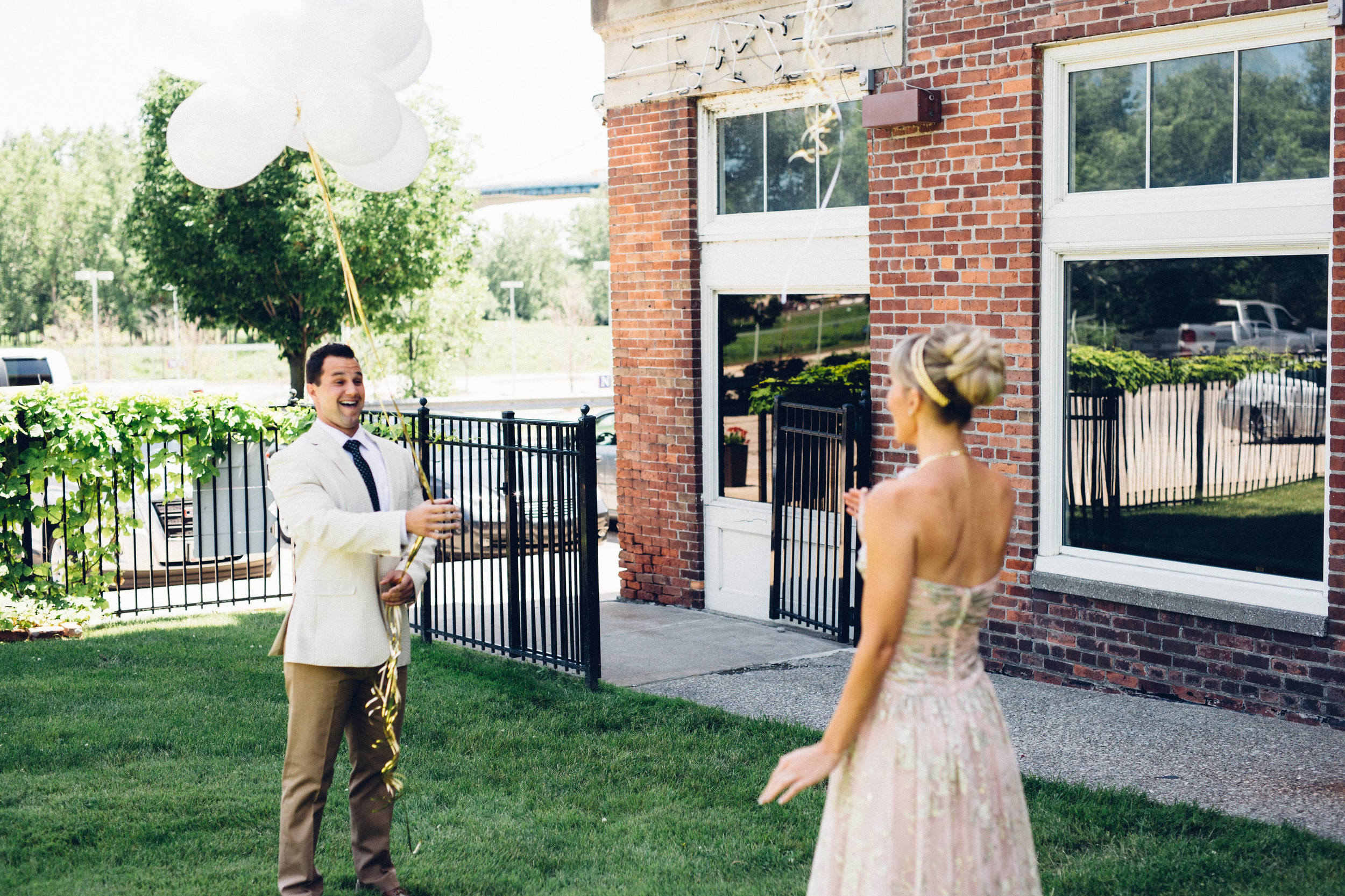 First Look Excitement in Downtown Toledo Wedding
