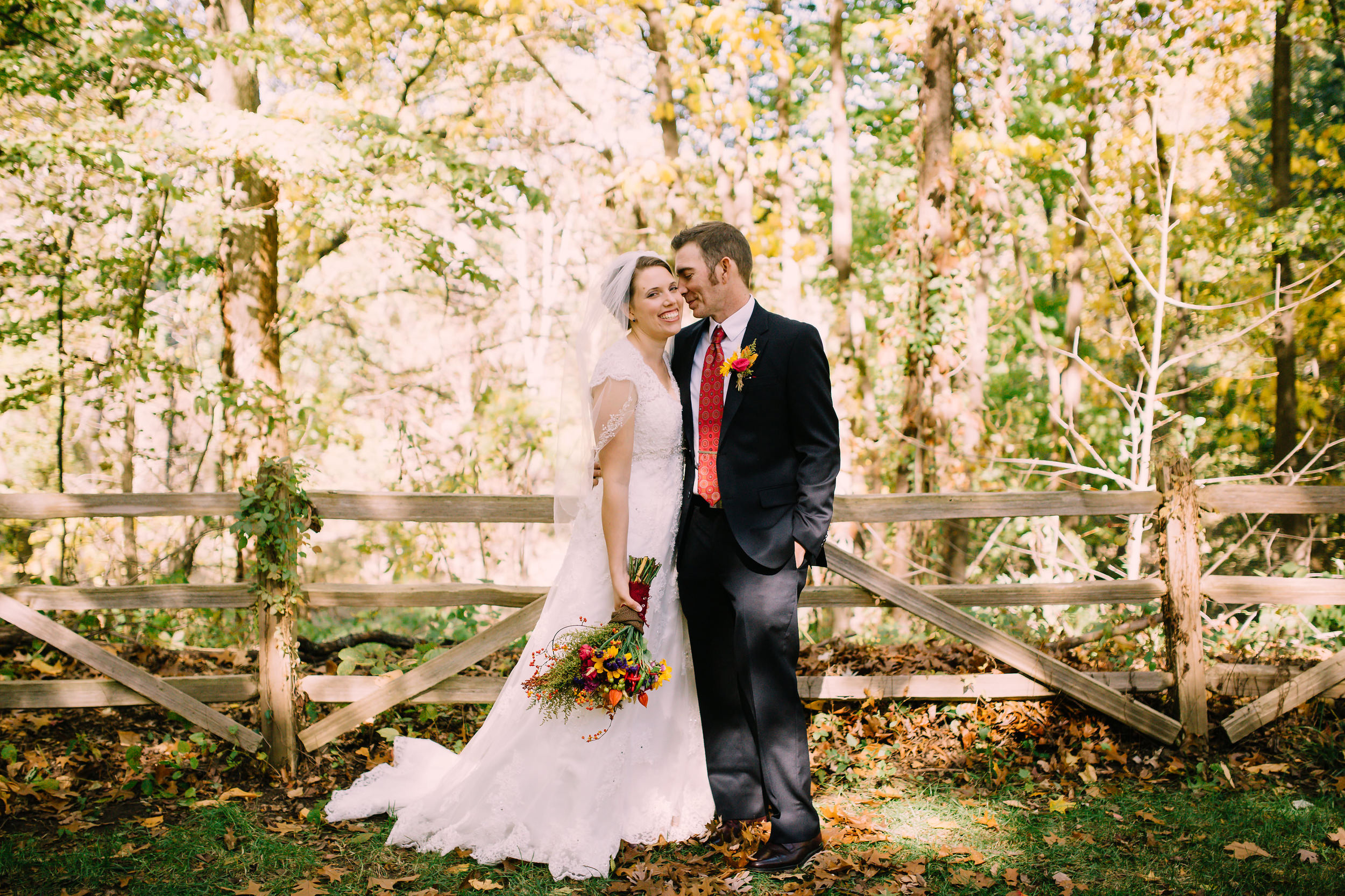 Bride and groom portrait outside at Wildwood Metropark