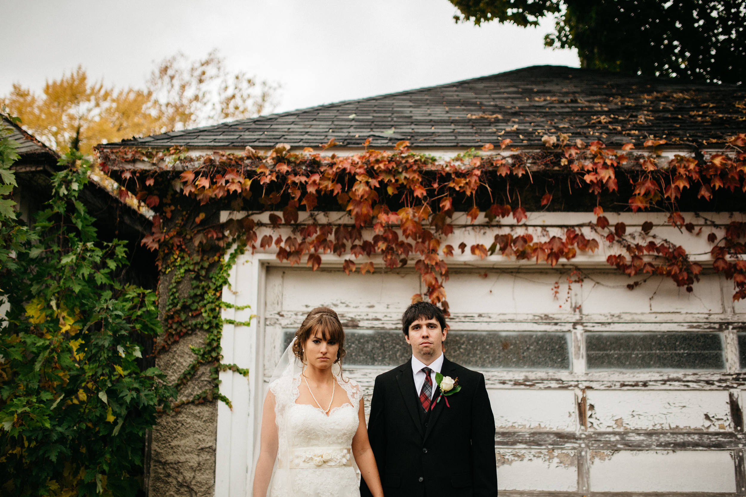 Bride and groom portraits on beautiful Fall day