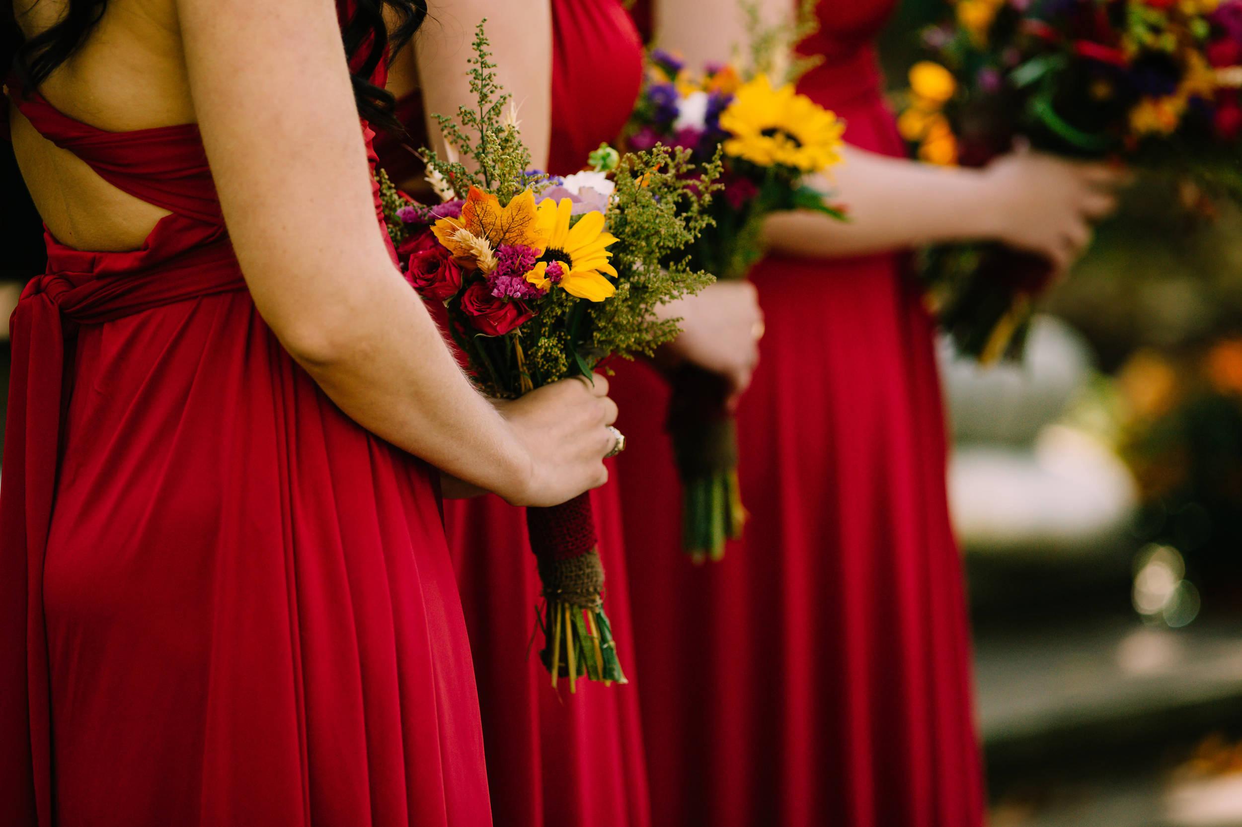Beautiful bridesmaid bouquets for October wedding in Ohio