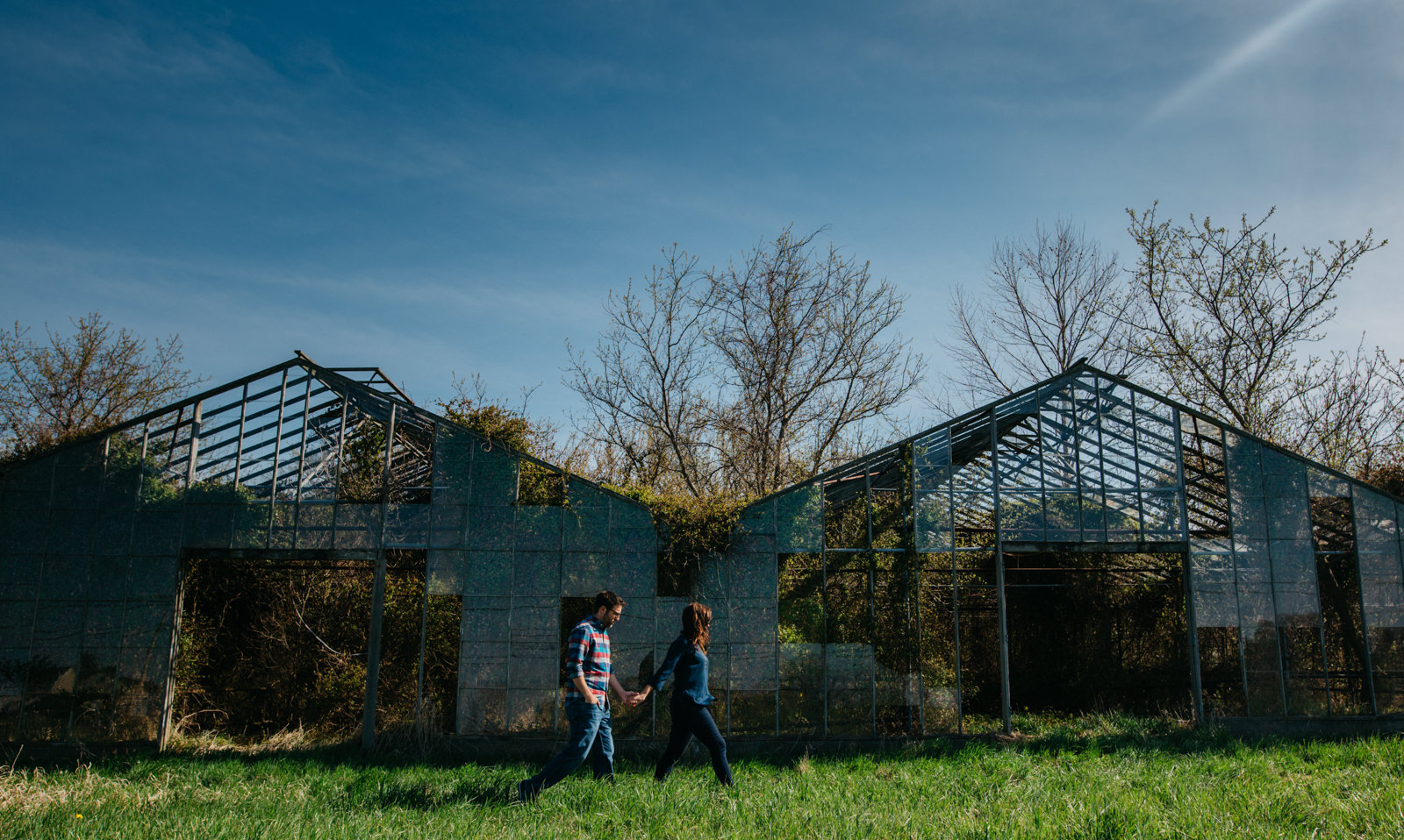 Engagement Session at abandoned greenhouse in Huron, Ohio.