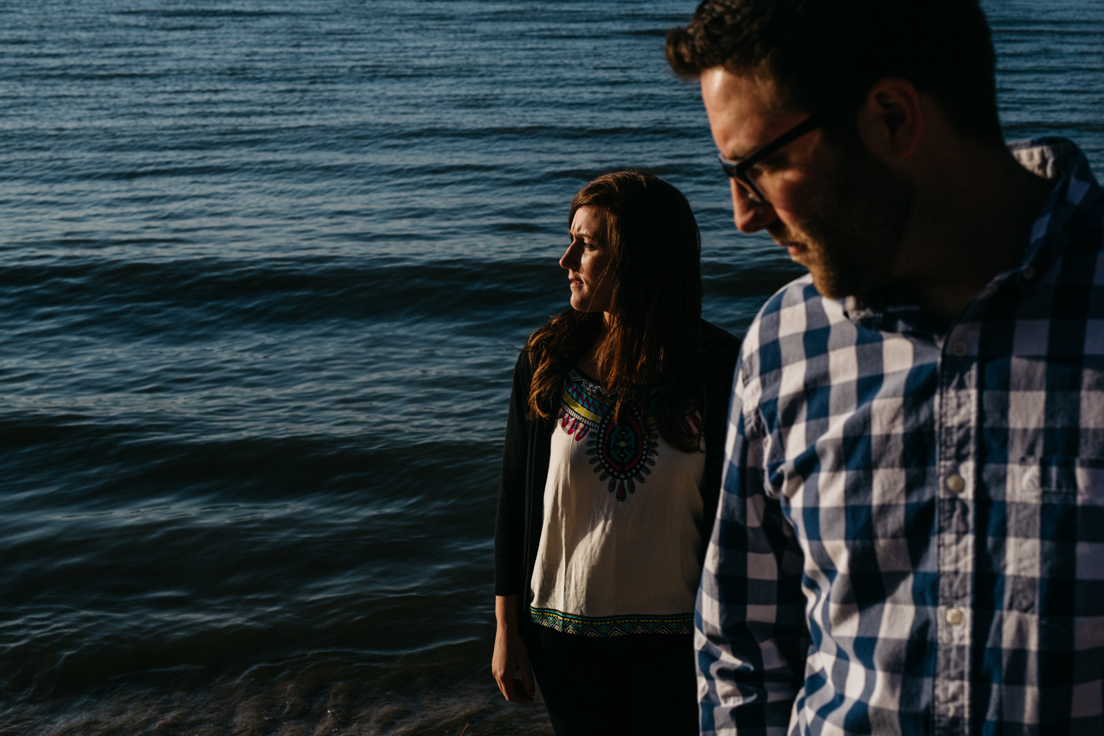 Beautiful sunset engagement session at Sheldon Mark on Lake Erie.