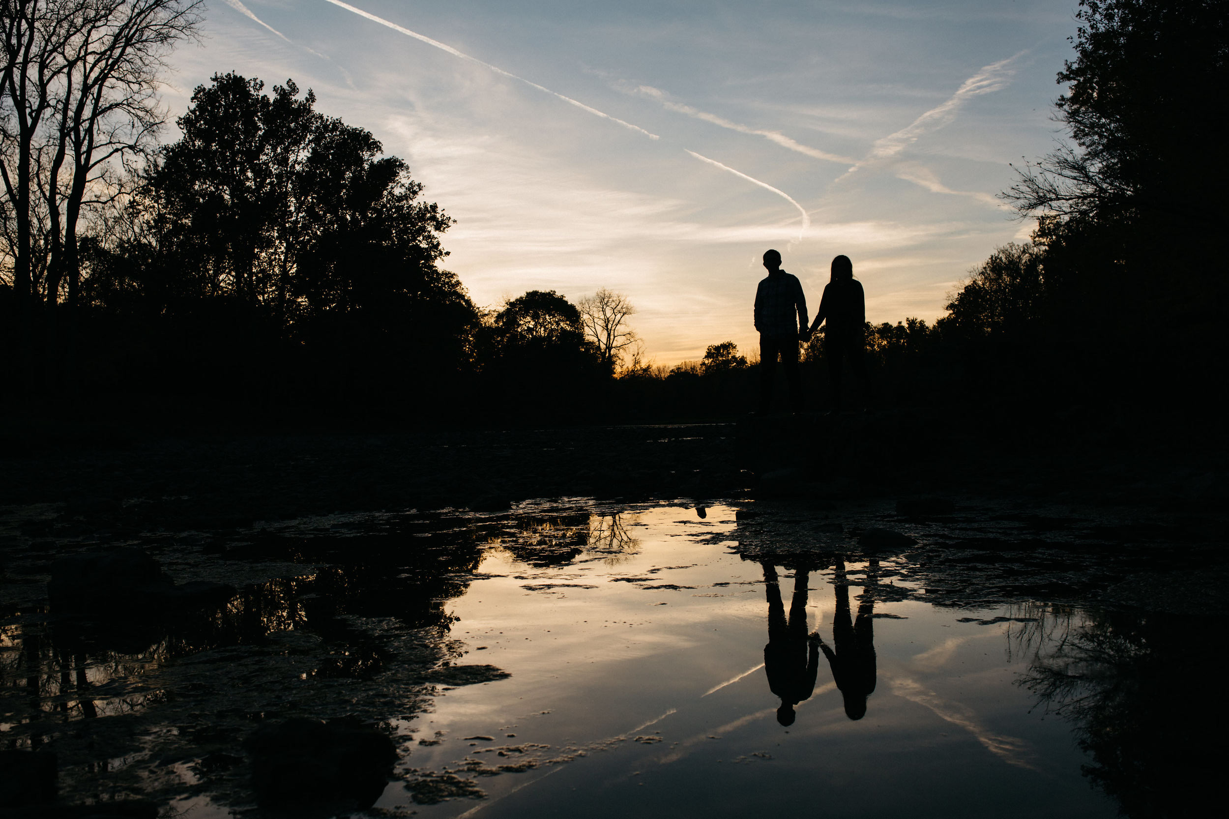 Engagement session at sunset in Sidecut Park, Maumee, Ohio.