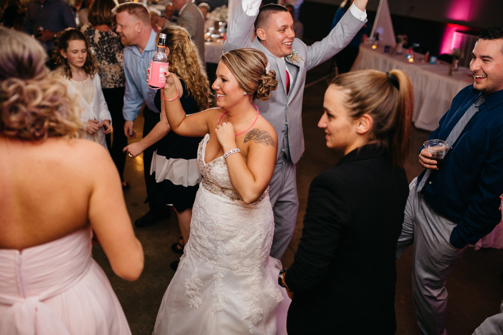 Bride and groom dancing at wedding reception at Fulton County Fairgrounds