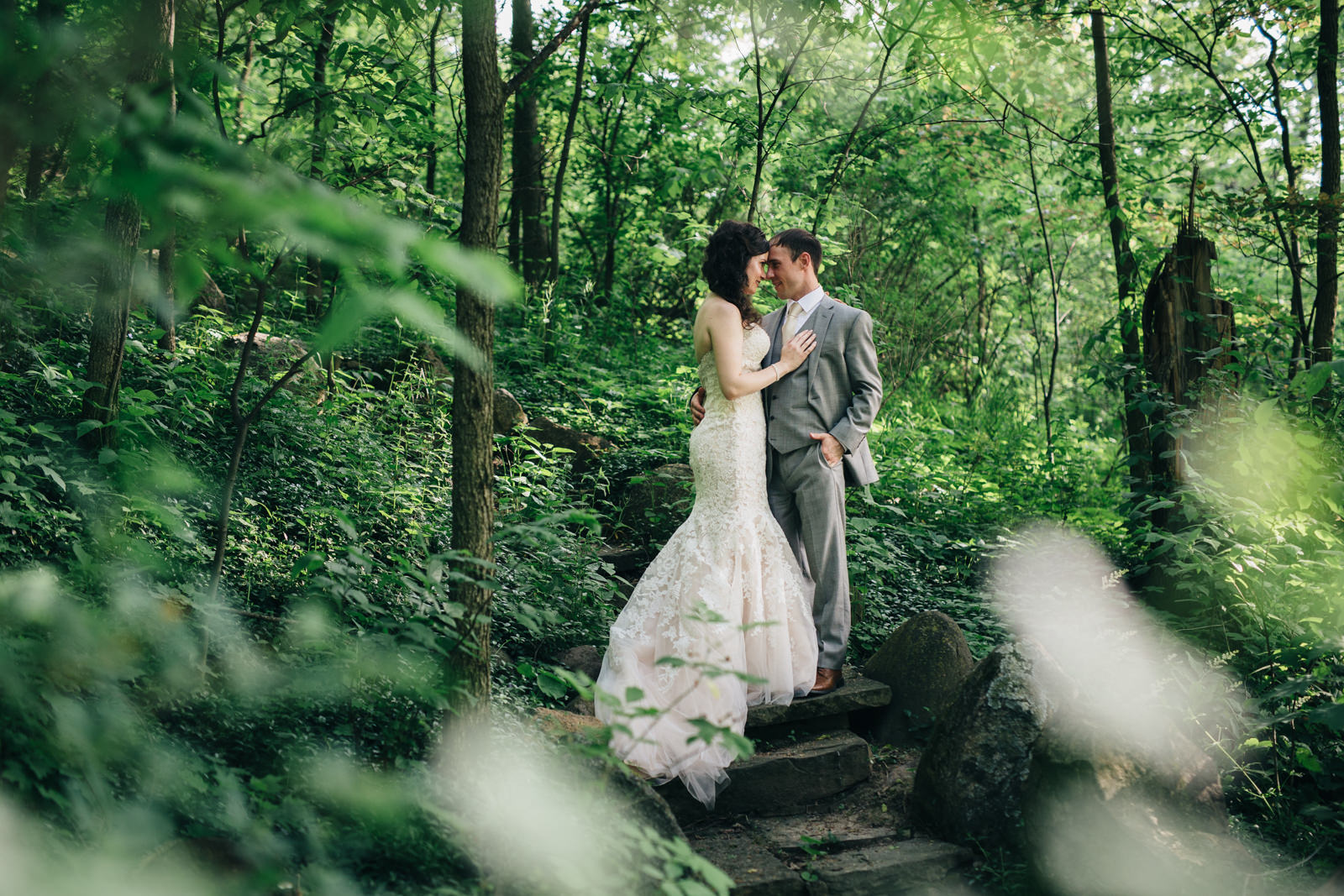 Bride and Groom in Grotto at Nazareth Hall Wedding