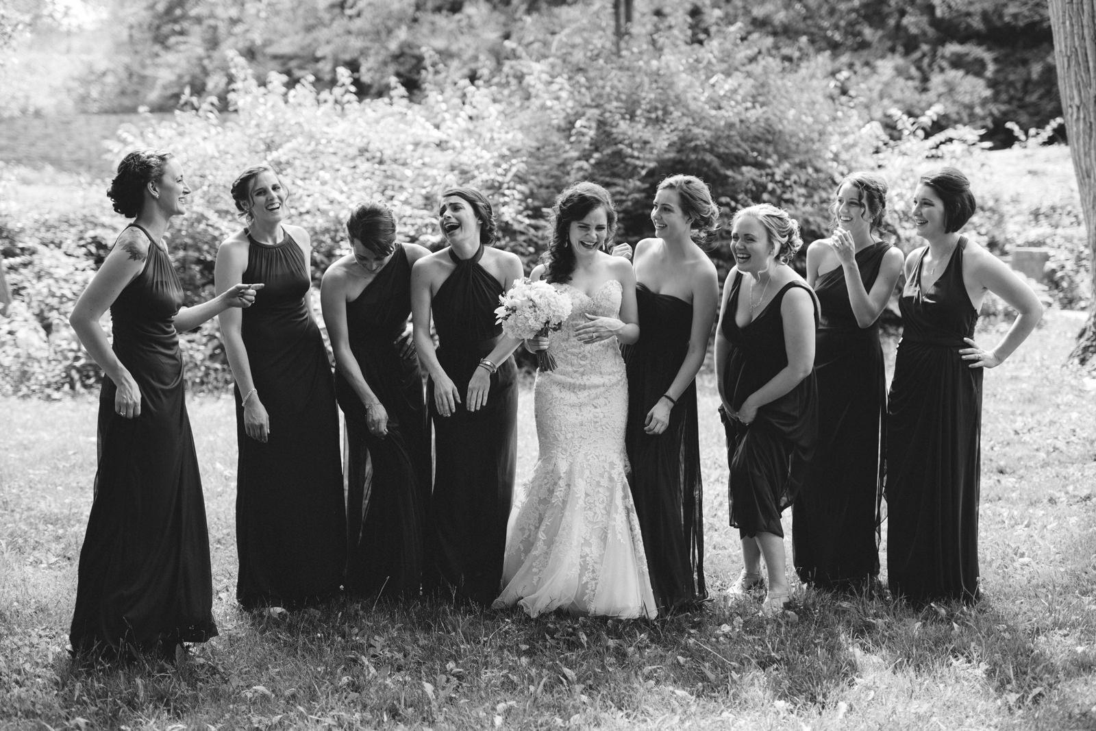 Fun portrait of bridesmaids at Sidecut Park