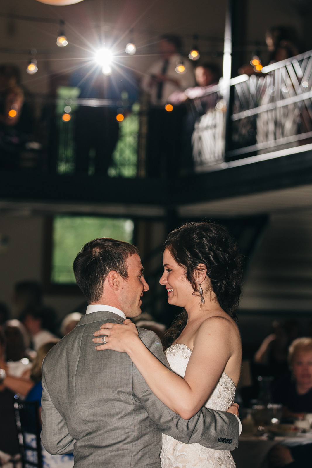 Bride and groom share first dance in the Ladyglen Ballroom at Nazareth Hall.