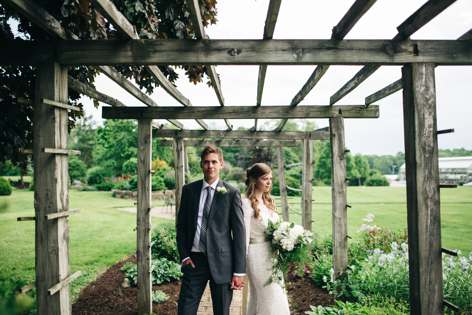 Summer wedding in garden at Quailcrest Farm in Wooster, Ohio.